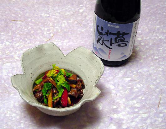 2008,3夢山水牛肉と菜の花の甘味噌炒め.jpg